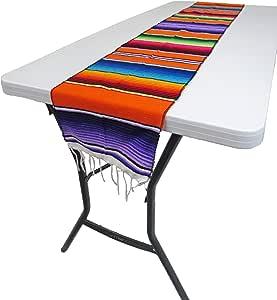 """Leos 进口 墨西哥 Serape 桌布 182.88 厘米 x 30.48 厘米 (TM) 橙色 72""""x12"""" 12_orange"""