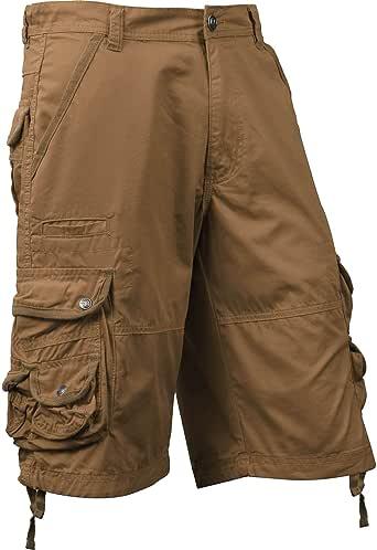 Ma Croix 男士高级工装短裤带腰带户外斜纹棉宽松多口袋长裤 1sm01_timber 32