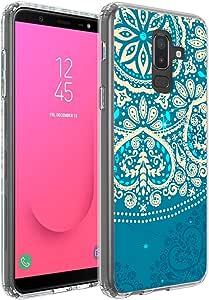 LG Stylo 4 手机壳/LG Stylus 4 手机壳,Helianton 背部硬塑料印花+透明防震 TPU 缓冲保护套,LG Stylo 4 的可爱薄型手机套J820181001 Stylo 4 蓝色花朵