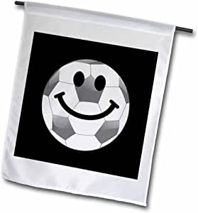InspirationzStore 笑脸系列 - 足球笑脸 - 白色英国足球 黑色快乐卡通 - 运动球迷 - 旗帜 12 x 18 inch Garden Flag fl_123140_1