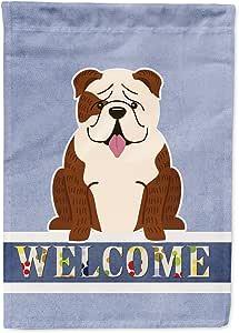 Caroline's Treasures 英国斗牛犬 Brindle 白色欢迎国旗帆布店,大号,多色