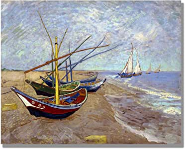 Eliteart-Van Gogh 覆盖 多种颜色 9. Fishing Boats on the Beach at Saints-maries 23x30(Canvas)