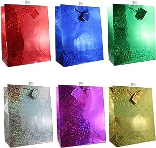 多色全息图礼品袋,12 个装,多种尺寸可选 中 1