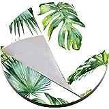 圆形一次性纸垫餐垫,天然食品级优质派对餐垫 - 一次性餐桌桌桌,撕掉餐具垫、桌布垫 Palm Trees Leaves