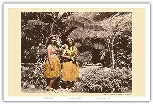 """Pacifica Island Art Hula 女孩夏威夷 - 复古夏威夷胡拉舞蹈者 c.1930 - 艺术版画 12"""" x 18"""" PRTB1130"""