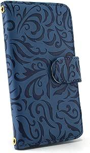 白色边框手机保护壳翻盖式 トライバルエンボス 蓝色 3_ Galaxy S5 SCL23 Samsung