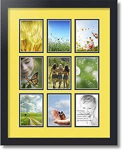 ArtToFrames 拼贴照片框双垫,带 9 个开口,黑色缎框 Canary 9-3.5x5 Double-Multimat-1045-47R/89-FRBW26079