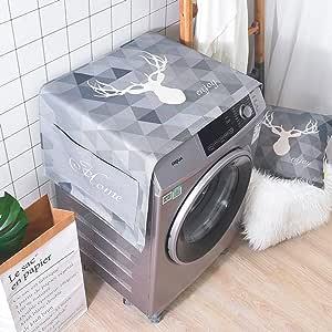 LANGUGU 冰箱防尘罩厨房装饰,通用*罩,带冰箱和洗衣机储物袋,散步鹿迷幻几何装饰背景,53.34 厘米 X 139.70 厘米 013-5 中