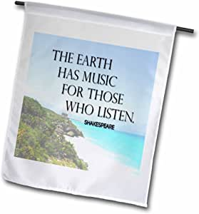 toryanne 收藏语录–THE EARTH HAS 音乐 for THOSE WHO LISTEN 语录海滩背景–旗子 12 x 18 inch Garden Flag
