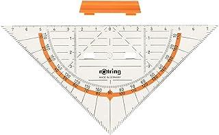 Rotring Centro 几何绘图套装带直尺 / 量角器 / 三角板 几何绘图套装 Dreieck mit Griff 16 cm 透明