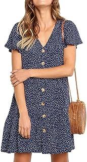 女式休闲短袖连衣裙 V 领纽扣夏季纯色迷你连衣裙