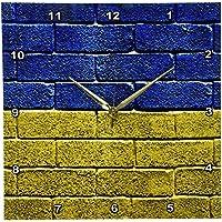3dRose dpp_157006_2 National Flag of Ukraine Painted Onto a Brick Wall Ukrainian Wall Clock, 13 by 13-Inch