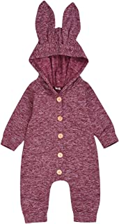 婴儿新生儿女宝宝 男孩 冬季秋季 纯色纽扣 厚 连帽衫 紧身衣 适合 12 个月兔子服装