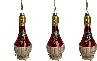 Party Explosions Chianti 闪光玻璃酒瓶装饰品 - 3 件套