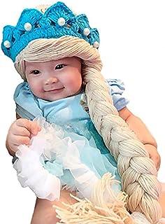 Crochet ice Queen 公主无檐小便帽针织帽带皇冠和辫子适用于女婴幼儿蓝色(M 码)