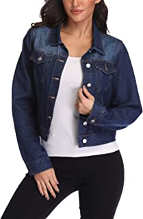 andy & natalie 女士牛仔夹克休闲有领长袖基本系扣短款牛仔夹克带口袋  深蓝色 X-Small