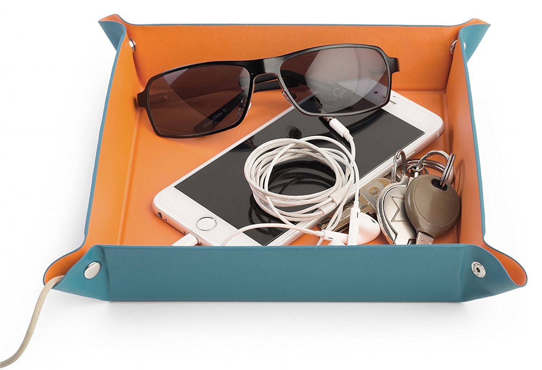 Monarch Housewares 女式花瓶托盘 – 床头储物收纳盒,适用于珠宝、手机、硬币、手表、太阳镜和配饰 蓝色-橙色 Headphones-modelJI1392 QA191