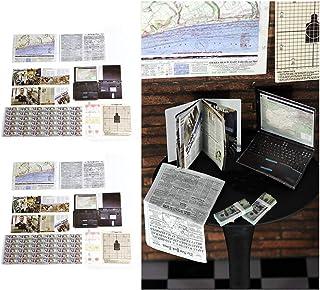 Wixine 2 件套 1:6 比例地图报纸杂志适用于 12 英寸动作人物场景配件