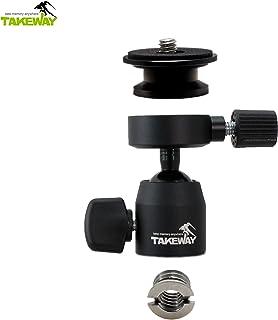TAKEWAY T-B03 球头,0.64 厘米或 0.95 厘米螺丝孔,6 磅承载能力,快速释放板,360 度,数码相机/GoPro/紧凑 DSLR/手机,大部分电子产品。