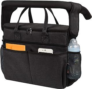Momcozy 通用婴儿车收纳袋,婴儿奶瓶袋/*冷却器,全隔热家长控制台袋,适用于Uppabababy、Baby Jogger、Britax、Bugaboo、BOB、雨伞和宠物推车