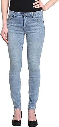 女式浅蓝色中腰紧身九分牛仔裤 (Camellia-AK) 浅蓝色 26