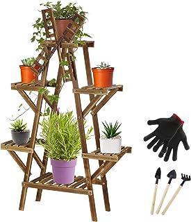 高大植物架带轮子,6 层 8-12 盆栽木花架室内室外花盆架,适用于庭院花园角落阳台客厅(字母 A 形状)