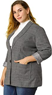 Agnes Orinda 女式加大码西装外套格子印花缺口翻领休闲外套