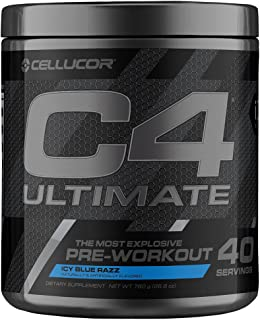 Cellucor C4 Ultimate Pre Workout Powder with Beta Alanine, Creatine Nitrate, Nitric Oxide, Citrulline Malate, and Energy Drink Mix, ICY Blue Razz, 40 Servings