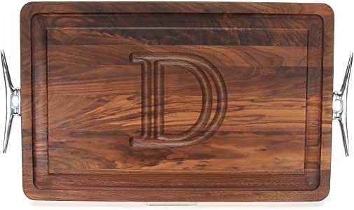 "CHUBBCO W220-LCLT-D Thick Carving Board with Large Boat Cleat Handle in Cast Aluminum, 15-Inch by 24-Inch by 1.25-Inch, Monogrammed ""D"", Walnut"