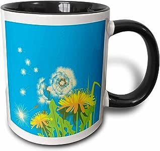 3drose dooni Designs 花卉和自然 Designs–可爱 dandelions Vector 花卉夏季设计–马克杯 黑色/白色 11 oz