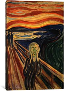 iCanvasART 15229-1PC3-26x18 The Scream, 1893 Canvas Print by Edvard Munch, 0.75 by 18 by 26-Inch