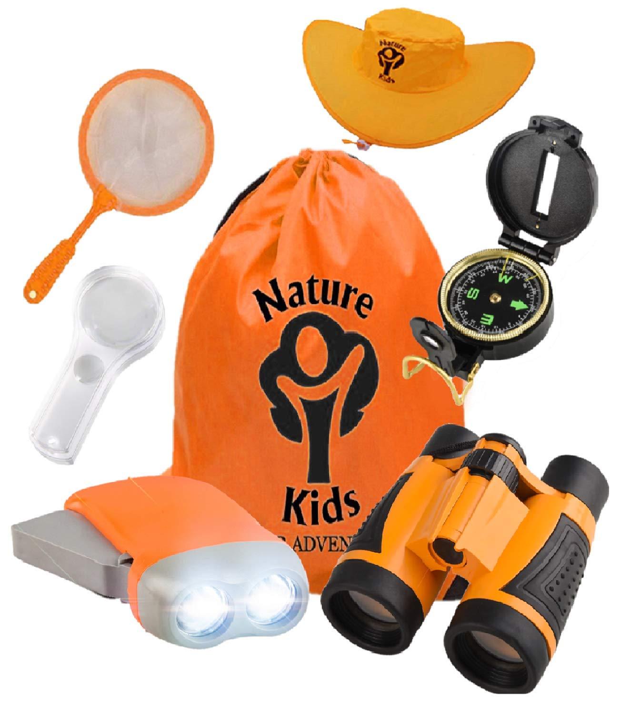 Adventure Kids - 户外探险家套装,儿童玩具双筒望远镜、手电筒、指南针、放大镜、蝴蝶网和背包。适合生日、露营、远足和教育套装 Explorer Kit 橙色
