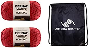 Bernat Maker Home Dec Yarn (2-Pack) Woodberry 161211-11001 with 1 Artsiga Crafts Project Bag