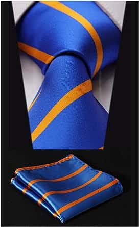 setsense 男式条纹领带围巾提花梭织经典男式领带 & 口袋方巾  Orange / Blue 8.5cm / 3.4 inches in Width