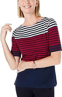 Karen Scott 女式条纹上衣(蓝*,XL 码)
