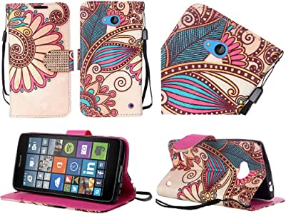 For Nokia Lumia 640 Shinny Leather Bling Wallet Credit Card Cover Case Antique Flower