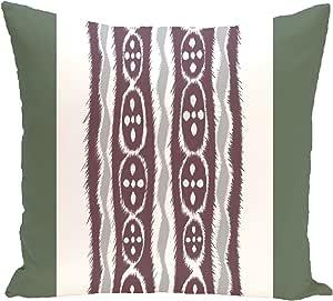 Ebydesign Ikat Ribbon Stripes Print Pillow, Herb Green