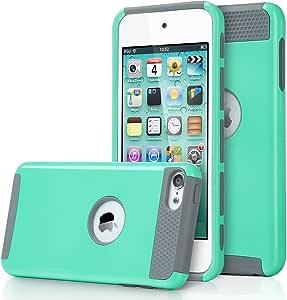 ULAK iPod 5 保护套,iPod Touch 6 保护套双层混合硬质 PC + TPU 保护套,适用于苹果 iPod touch * 6 代U963 Aqua Mint/grey