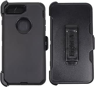 重型冲击坚固内置屏幕保护膜迷彩保护壳带夹适用于 Apple iPhone 8 黑色