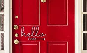 乙烯基设计公司 Hello in Cursive 箭头乙烯基贴花贴纸 适合门宽 24.13 厘米 x 高 12.70 厘米