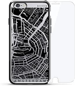 奢华镀铬系列 360 套装:设计师手机壳 + 钢化玻璃 适用于 iPhone 6/6s 银色LUX-I6CRM360-CAMSTERDAM1 Amsterdam Streets Map 银色