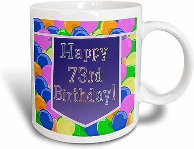 3drose BEVERLY TURNER 生日设计–气球图案紫色横幅 HAPPY 73rd 生日–马克杯 白色 11 oz