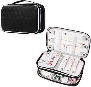LUXJA 绗缝旅行珠宝收纳盒,双层珠宝收纳盒 黑色 CALX03001