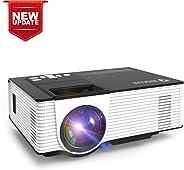 Zeacool 视频投影仪,*新*版 LED 便携式家庭影院投影仪,支持1080P,兼容于Fire TV Stick,PS4,智能手机,PC等,适用于电影、电视和游戏 小号 黑白色