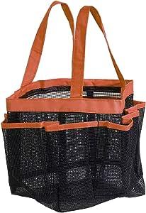 uxcell 便携式小盒,带 8 个网状存储袋,速干淋浴大手提袋牛津布悬挂洗发水、护发素、肥皂其他浴室配件 橙色 a19021500ux0023