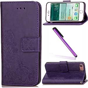 iPhone 8 护套 iPhone 7 护套 EMAXELER 时尚钱包护套 带支架翻盖护套 信用卡槽现金口袋 PU 皮革翻盖钱包护套 iPhone 7/8 Clover: Purple
