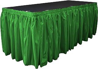 LA Linen 35.56cm x 73.66cm 新娘缎面百褶桌裙带 7 个大夹子 绿色(Kelly Green) 14-Feet by 29-Inch SkirtBridal14x29+10Clps_GreenKelly