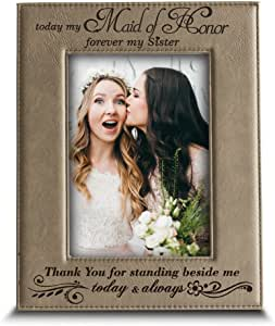 "BELLA BUSTA Thank You for stand beside me today and always - 雕刻皮革相框 浅棕色皮革 4""x 6"" Vertical (Maid of Honor-Sister)"