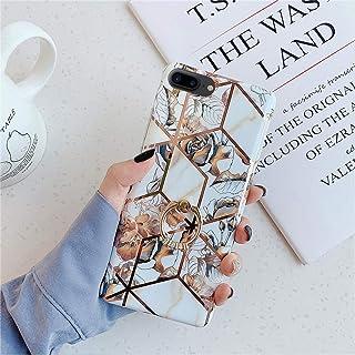 iPhone 7 Plus 手机壳,iPhone 8 Plus 手机壳,夏季热带花卉叶子超薄软橡胶硅胶 TPU 闪亮钻石戒指支架大理石抛光手机壳适用于 iPhone 7 Plus / 8 Plus