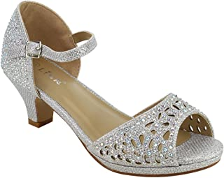 Link Fantastic-92K Girl's Rhinestone Cutout Buckle Ankle Strap Chunk Heel Sandals